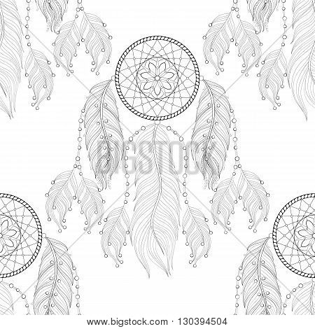 Hand drawn zentangle Dream catcher seamless pattern for adult coloring pages, post card, t-shirt print, Boho style. Isolated illustration in doodle, henna tattoo design.