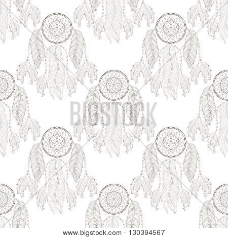 Hand drawn tribal Dream catcher seamless pattern for adult coloring pages, zentangle post card, t-shirt print, Boho style. Isolated illustration in doodle, henna tattoo design.