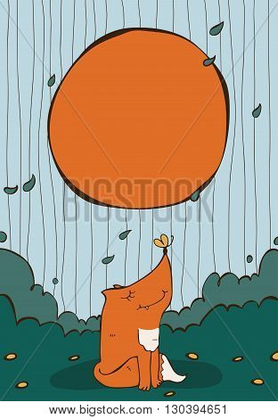 Vertical vector illustration with cute sitting ginger fox with yellow butterfly on nose circle text holder and flying leaves around. Decorated large hand drawn image with nice colors sky and bushes.