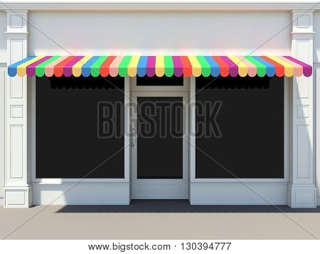 Shopfront in the sun - 3D rendering classic store front with colored awnings