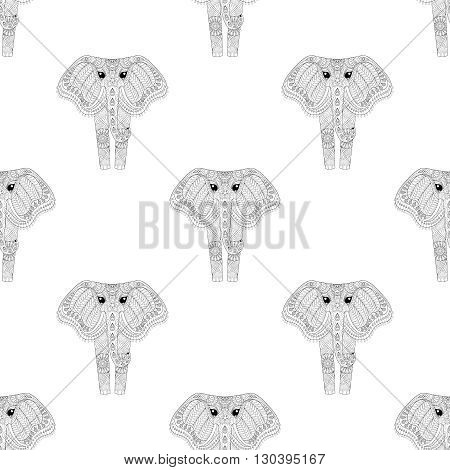 Hand drawn zentangle Ornamental Elephant seamless pattern for adult coloring pages, fabric, post card, t-shirt print. Indian or African Animal illustration in doodle, boho style, henna tattoo design.