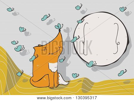Horizontal vector illustration with cute sitting fox with blue butterfly on nose circle text holder and flying butterflies around. Decorated large hand drawn image with nice colors for your design