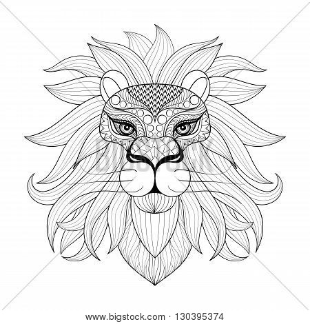 Hand drawn zentangle Ornamental Lion for adult coloring pages, post card, mehendi t-shirt print,  logo icon. Isolated animal illustration in doodle, boho style, henna tattoo design.