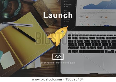 Launch Start Begin Rocket Ship Icon Concept