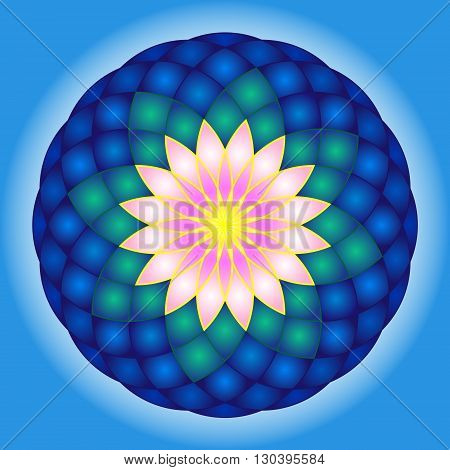 Lotus round mandala with contour. Vector Illustration.
