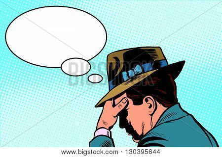 Retro male thinking pop art retro vector. The person thinks. The man remembers