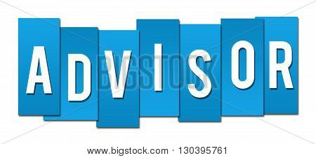 Advisor text alphabets written over blue background.