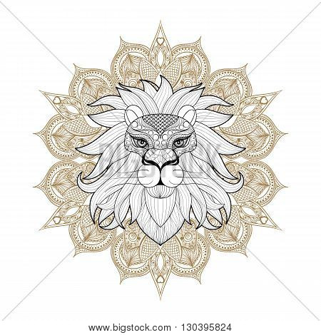 Hand drawn zentangle Ornamental Lion on mehendi mandala for adult coloring pages, post card, t-shirt print, Leo logo icon. Isolated animal illustration in doodle, boho style, henna tattoo design.