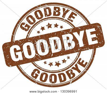 goodbye brown grunge round vintage rubber stamp