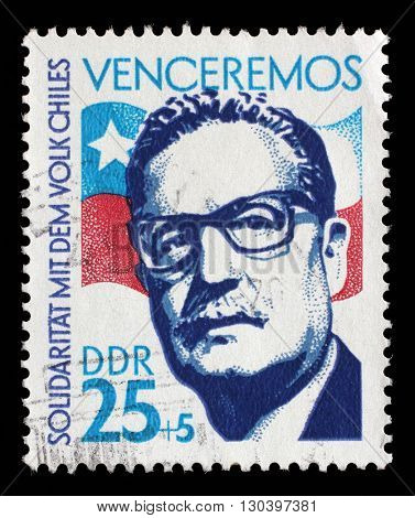 ZAGREB, CROATIA - SEPTEMBER 05: A stamp printed in GDR from the Chile Solidarity issue, circa 1973., on September 05, 2014, Zagreb, Croatia