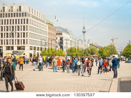 BERLIN, GERMANY- May 18: Tv tower or Fersehturm in Berlin on May 18, 2016. BERLIN, Germany.
