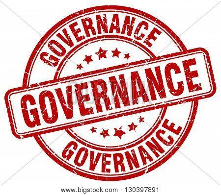 governance red grunge round vintage rubber stamp