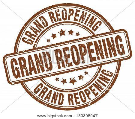grand reopening brown grunge round vintage rubber stamp