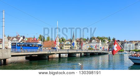 Lucerne Switzerland - 7 May 2016: the Seebruecke bridge. The Seebruecke bridge connects the historical and contemporary parts of the city of Lucerne. Lucerne is a city in central Switzerland it is the capital of the Swiss Canton of Lucerne and the capital