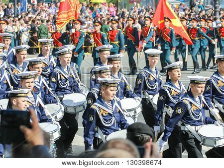 St. Petersburg, Russia - 9 May, Cadets Sea Cadet Corps, 9 May, 2016. Festive military parade on the Palace Square in St. Petersburg.