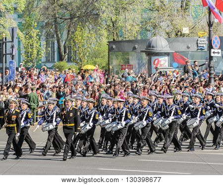 St. Petersburg, Russia - 9 May, Division military drummers Sea Cadet Corps on the march, 9 May, 2016. Festive military parade on the Palace Square in St. Petersburg.