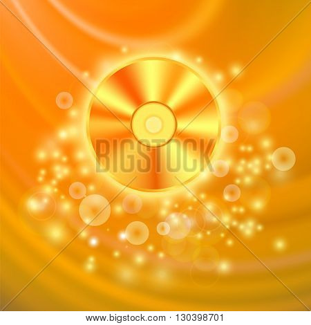 Compact Disc Isolated on Orange Wave Blurred Background