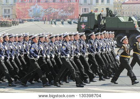 St. Petersburg, Russia - 9 May, Division sailors on the march, 9 May, 2016. Festive military parade on the Palace Square in St. Petersburg.