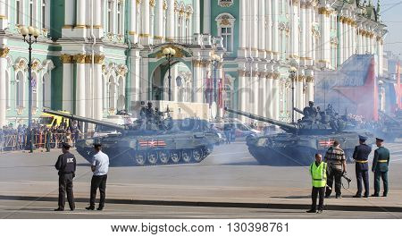 St. Petersburg, Russia - 9 May, Passing through the smoke tanks on parade, 9 May, 2016. Festive military parade on the Palace Square in St. Petersburg.