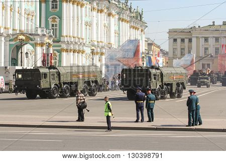 St. Petersburg, Russia - 9 May, Military vehicles on the strategic purpose of the Victory parade, 9 May, 2016. Festive military parade on the Palace Square in St. Petersburg.