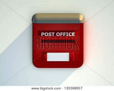 Red Mail box with white letters. 3D rendering.