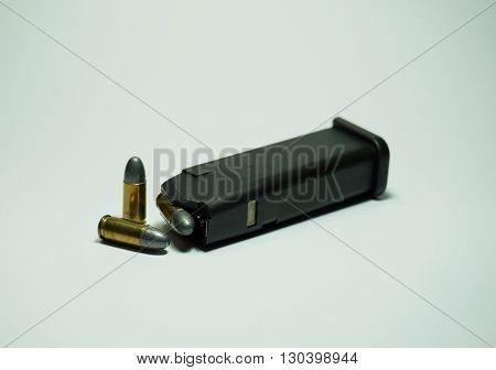 9 mm pistol ammunition isolated on white background.