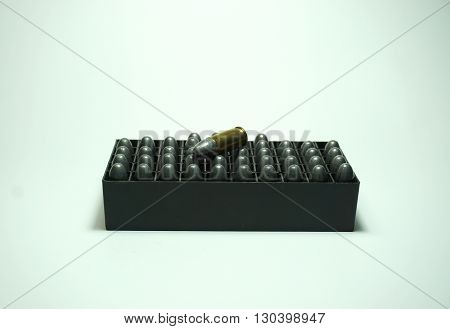 9mm bullets in box isolated on the white background
