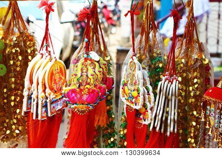 Souvenir suspension South India. religious pendant glass car Hinduism