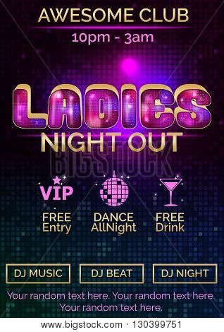 Glowing disco pink and gold advertising poster customizable template for ladies night out. Replace exisitng text to customize template for your event.