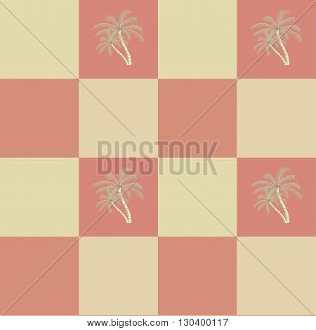 Retro seamless coconut palm trees pattern background.