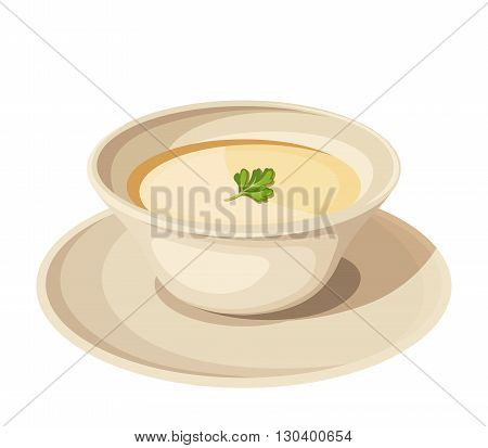 Vector illustration of a plate of cream soup isolated on a white background.