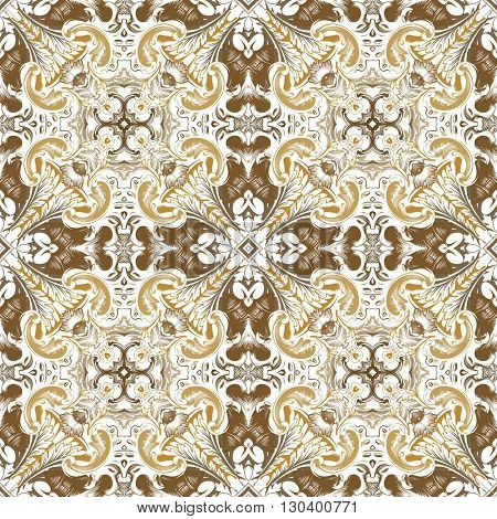 Vector seamless pattern with baroque ornament. Vintage elements for design in Victorian style. Ornamental vintage background. Ornate floral decor for wallpaper. Endless texture