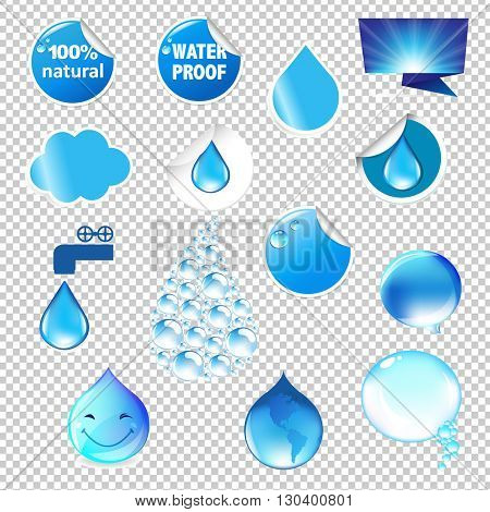 Water Symbols Set, Isolated on Transparent Background, With Gradient Mesh, Vector Illustration