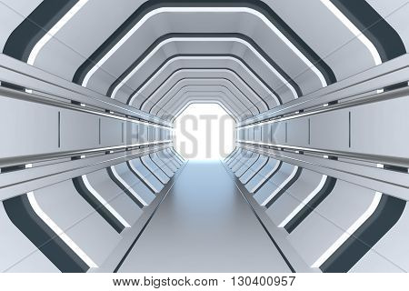 Futuristic tunnel on the spaceship 3D render