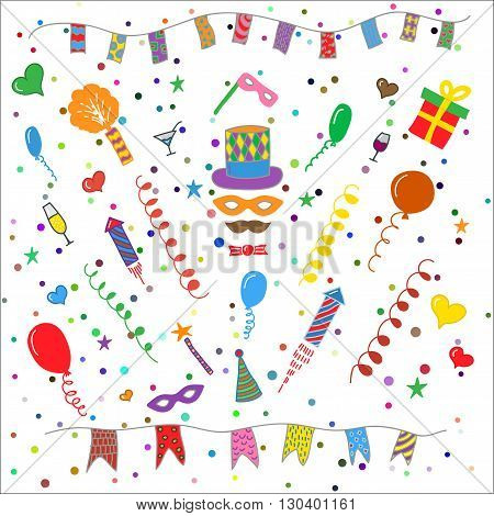 Carnival hand drawn symbols collection - carnival masks, party decorations. Birthday party elements. Vector illustration isolated on white background.