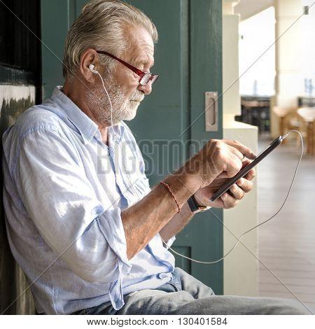 Listening Earphones Music Casual Leisure Man Concept