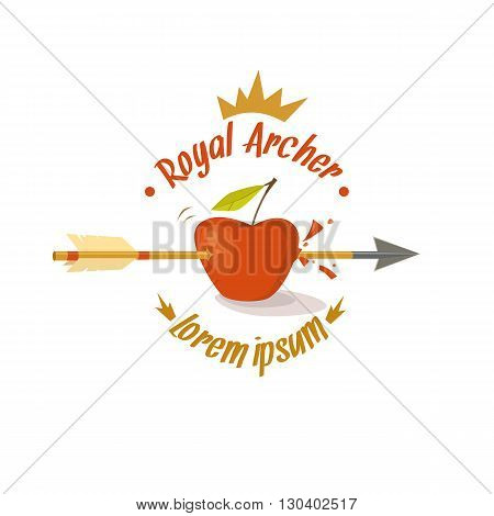 Vector logo and design elements for archery in cartoon style with Apple arrow and text on a light background.