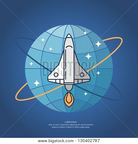 Vector illustration of a Missile or spacecraft to fly into space on a blue background. Icons and illustration for design site infographics poster advertising.
