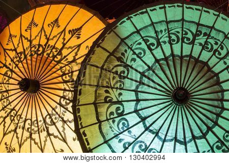 Traditional Handicraft Umbrellas Are Sold In Night Market In Bagan, Myanmar