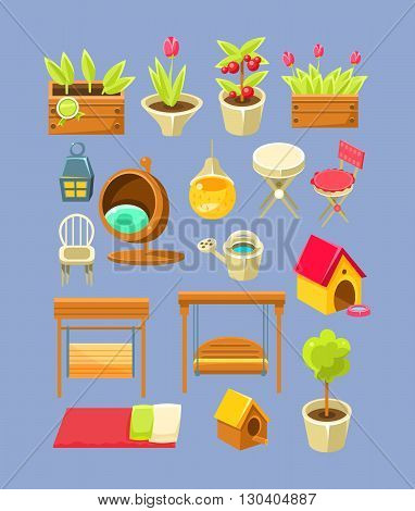 Garden Interior Elements Set Of Bright Color Simplified Style Vector Icons Isolated On Blue Background