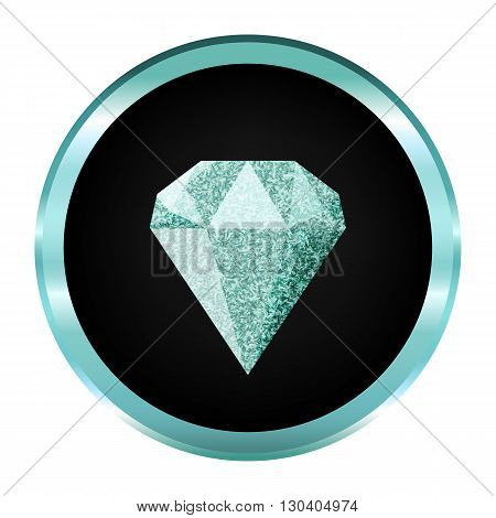 Diamond icon, logo.On blue shape.Diamond vector isolated.Shiny brilliant.