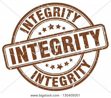 integrity brown grunge round vintage rubber stamp