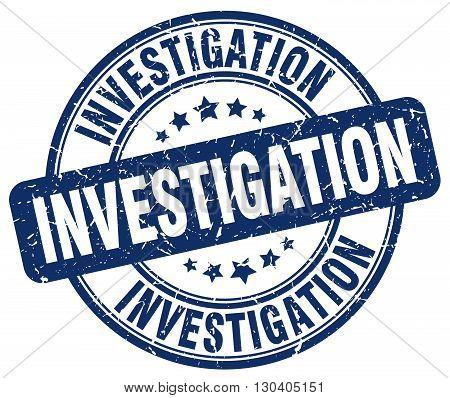 investigation blue grunge round vintage rubber stamp
