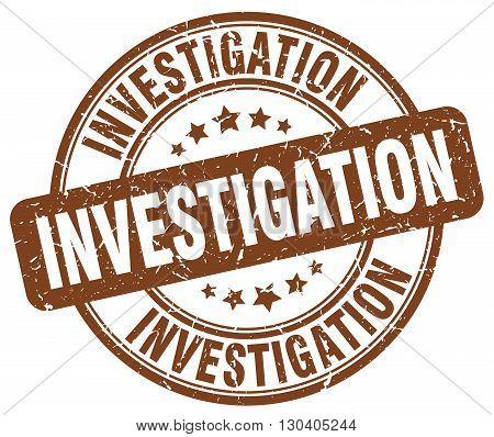 investigation brown grunge round vintage rubber stamp