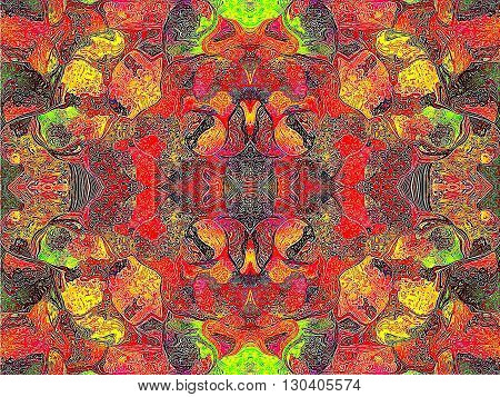 Oriental patterns - the fire of the soul The picture shows the oriental patterns mainly red and yellow colors.