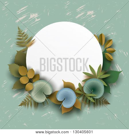 Text box round banner with different elements of leaves and grass. Greeting card in shades of green. Vector illustration. Summer concept.