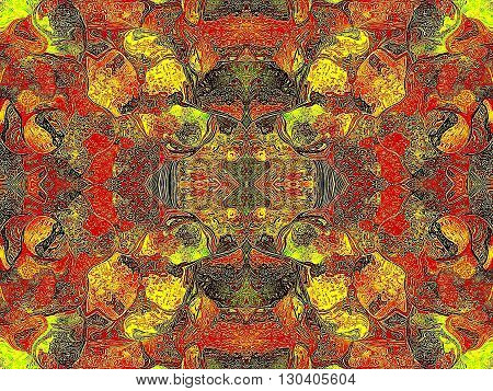 Oriental patterns - the language of the soul The picture shows the oriental patterns mainly red and yellow colors.