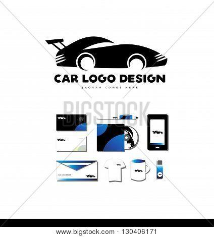 Vector company logo icon element template race car shape design auto automobile