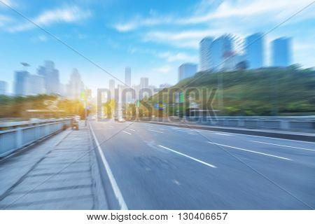traffic through city, cityscape of china.