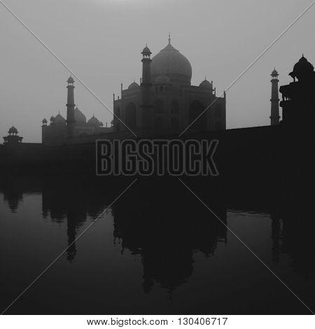 Sunset Silhouette Of A Grand Taj Mahal Concept